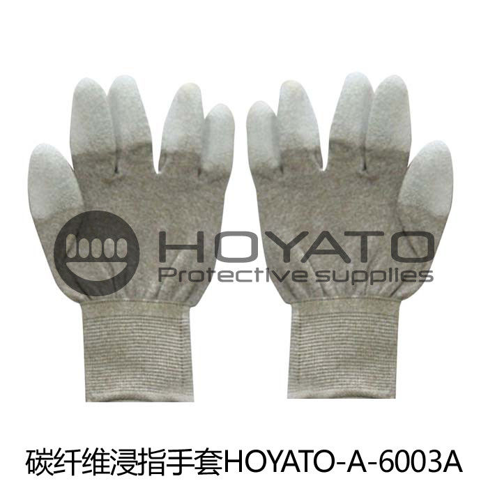 Safety Breathable Anti Static Gloves Customized ESD Carbon Fiber PU Coated Glove